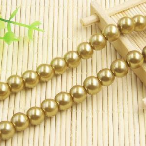 Beads, Glass Imitation pearls, Glass, Gold colour , Round shape, Diameter 10mm, 10 Beads, [FZZ0055]